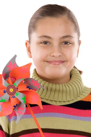 Girl with windmill on a white background Stock Photo - 4265179