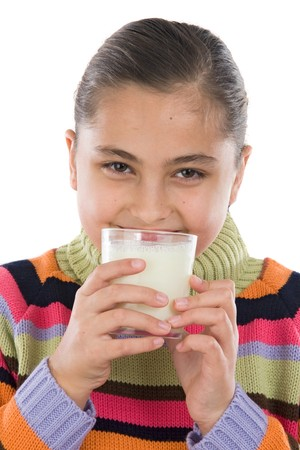 Girl drinking milk a over white background photo