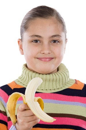 Cute girl with a peeled banana on a over white background photo