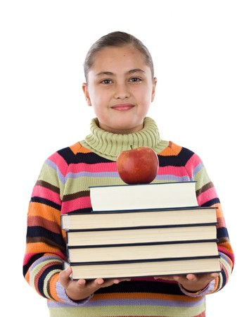 Adorable girl with many books and a apple on a over white background Stock Photo - 4308214