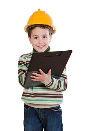 Adorable future engineer writing isolated over white Stock Photo - 4333092