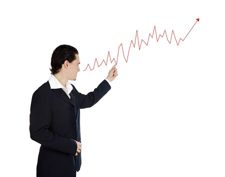 ascend: Attractive businessman with a ascend graph isolated over white
