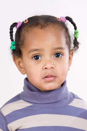 baby hairstyle: Portrait of adorable african baby with braids