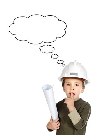 Adorable future engineer thinking isolated over white