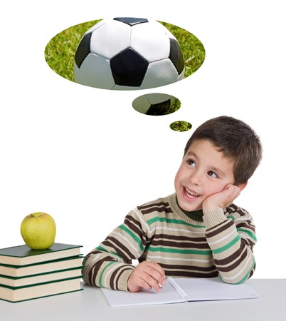 children in class: Funny guy in class thinking about playing soccer on a white background