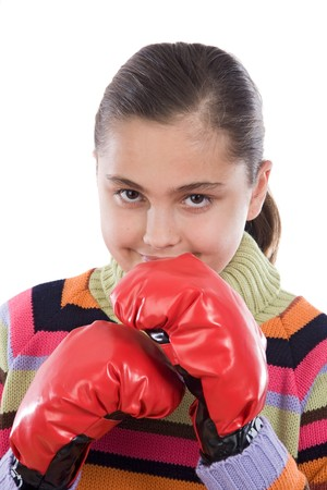 Girl with boxing gloves isolated on white photo
