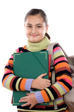 reading material: Girl student with folder and backpack on a white background