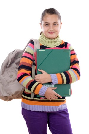 educational material: Girl student with folder and backpack on a white background