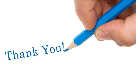 Hand with blue pen writing Thank You isolated over white Stock Photo