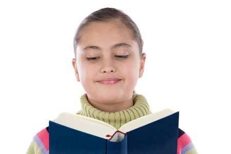 Adorable girl with reading a book on a over white background Stock Photo - 4402769
