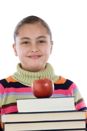 Adorable girl with many books and a apple on a over white background photo