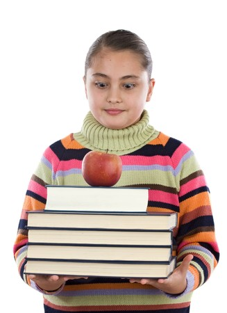 Adorable girl with many books and a apple on a over white background Stock Photo - 4402819