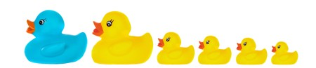 Family duck toy a over white background Stock Photo - 4388348