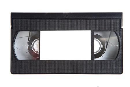 videotape: Black videotape on a over white background