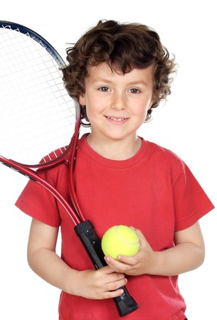 raqueta de tenis: Ni�o con pelota y raqueta de tenis