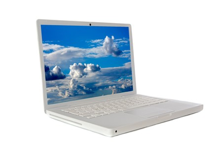 Laptop computer sideways a over white background  photo