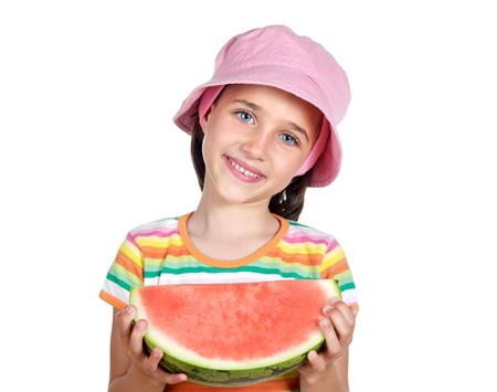 Adorable little girl with a big piece of watermelon on a white background photo