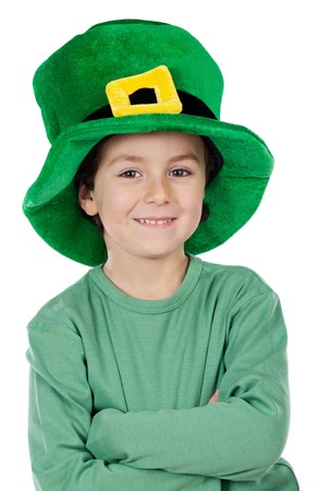 saint patricks: Child whit hat of Saint Patricks Day celebration