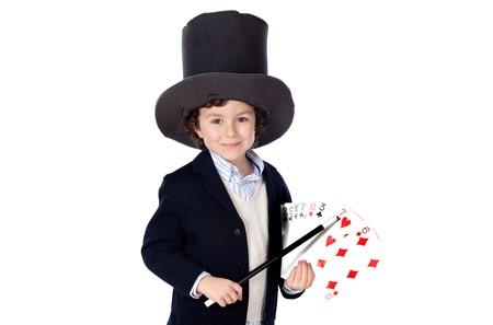 Adorable child dress of illusionist with hat on a over white background photo