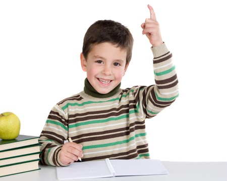 Child with notebook asking to speak isolated over white photo