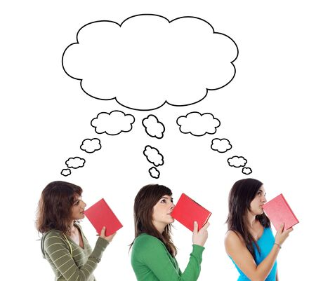 Three young girls thinking with books isolated over white photo