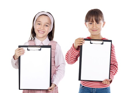 Two beautiful girls student with notepad (you can put your text) photo