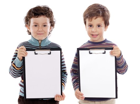 small  picture: Two beautiful boys student with notepad (you can put your text)