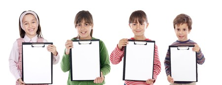 Four beautiful children student with notepad (you can put your text) photo