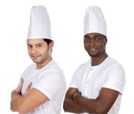 Team of two chefs on a over white background photo