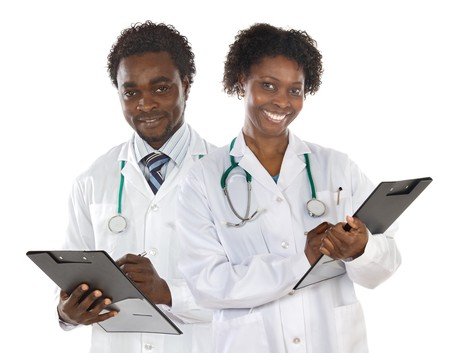 Couple of doctors a over white background photo