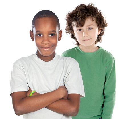 Children friends on a over white background  Stock Photo