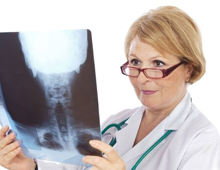 Female doctor radiologist a over white background photo