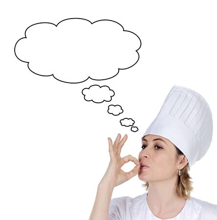 flavorful: Attractive chef girl thinking isolated on white Stock Photo