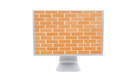 Modern monitor with the image of a brick wall background isolated on white photo