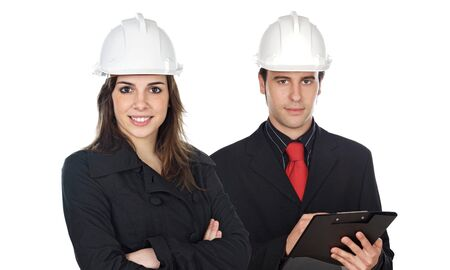 Couple of engineers a over white background photo