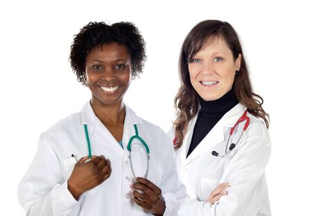 Couple of doctors woman a over white background photo