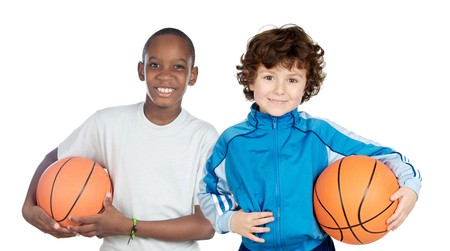 sport kids: Two adorable children with basketball on a over white background Stock Photo