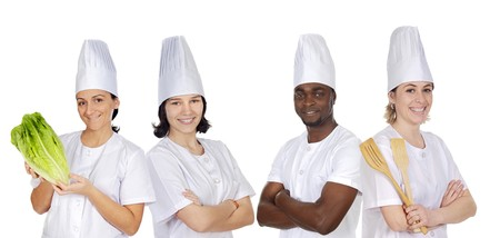 Team of kitchen on a over a white background photo