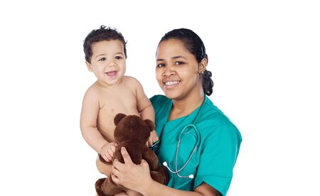 Adorable doctor with a baby in her arms a over white background Stock Photo - 4493361