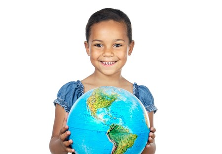 Girl with a globe of the world over white background Stock Photo - 4493359