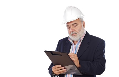 engineering clipboard: Engineer taking notes  a over white background Stock Photo
