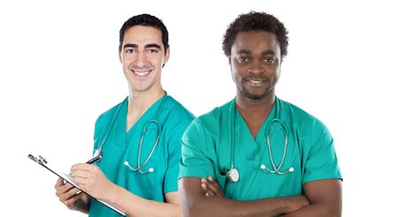 Two doctor on a over white background photo