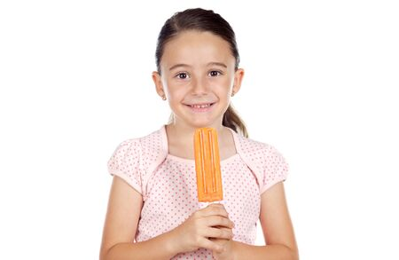 Girl eating an ice cream a over white background photo
