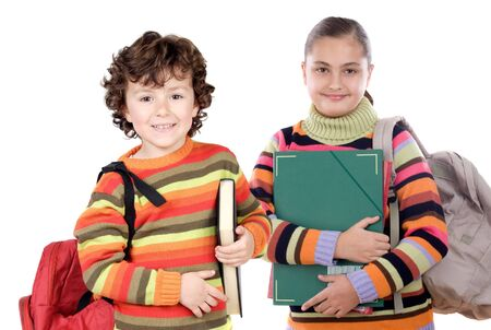 returning: Two students returning to school on a white background Stock Photo