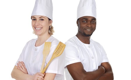 Team of kitchen on a over a white background Stock Photo - 4559420