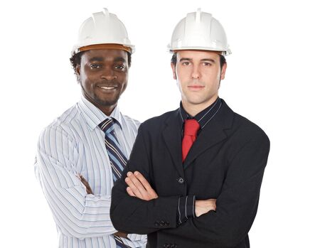 executive helmet: Couple of engineers on a over white background Stock Photo