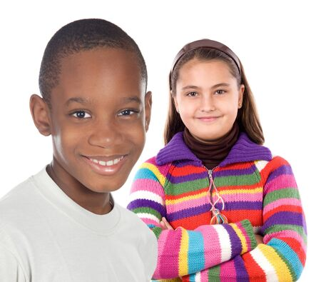 Two children on a over white background  photo