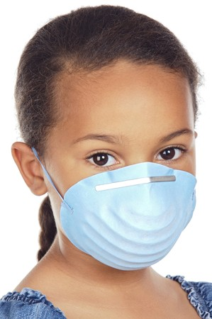 bronchial: A pretty girl with a blue mask isolated over white Stock Photo