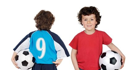 Children with soccerball isolated over white Stock Photo - 4569807