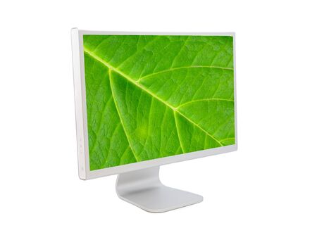 Computer monitor with leaf wallpaper isolated on white photo